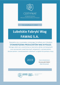 2019_certyfikat - Lubelskie Fabryki Wag FAWAG S.A..png